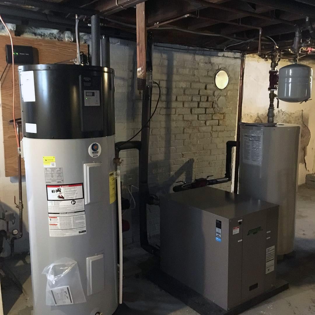 11heat pump water heater in basement